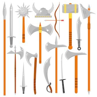 Vector conjunto de armas afiadas.