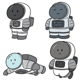 Vector conjunto de astronauta