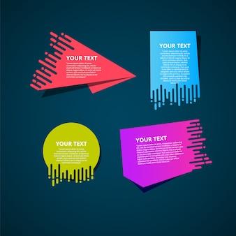 Vector conjunto de bandeiras de papel origami.