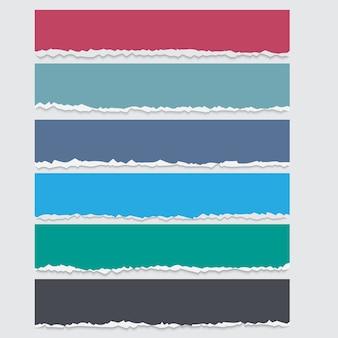 Vector conjunto de bandeiras de papel rasgado coloridas com espaço para texto