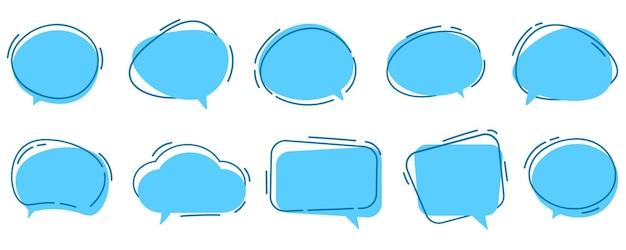Vector conjunto de bolhas de discurso ícone de caixa de diálogo modelo de mensagem nuvens azuis para texto