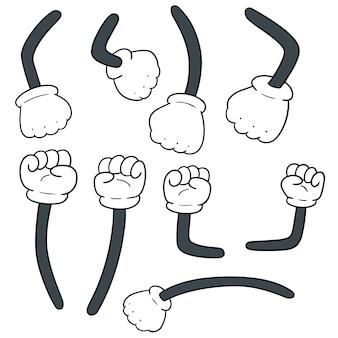 Vector conjunto de braço dos desenhos animados