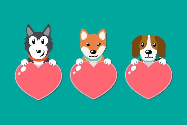 Vector conjunto de cães com sinais de coração