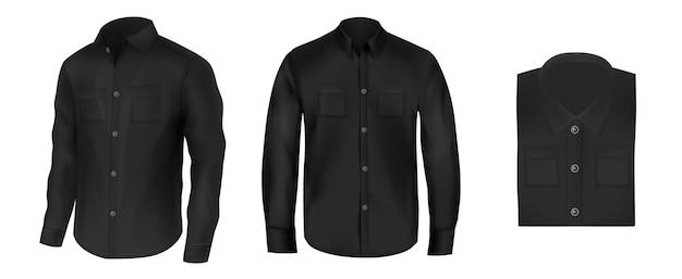Vector conjunto de camisas pretas para homens, vista frontal