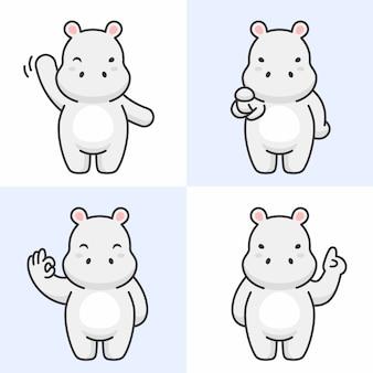 Vector conjunto de caracteres de hipopótamo fofo