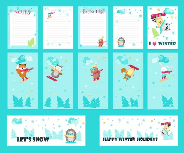 Vector conjunto de cartões com animais fofos de snowboard