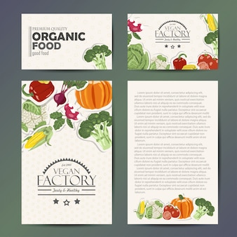 Vector conjunto de cartões com legumes
