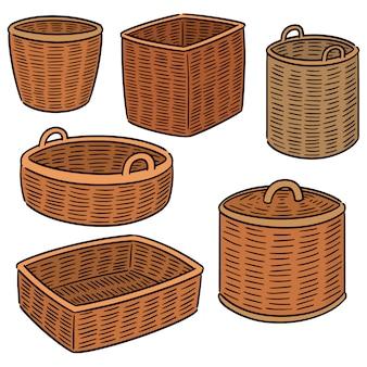 Vector conjunto de cesta de vime