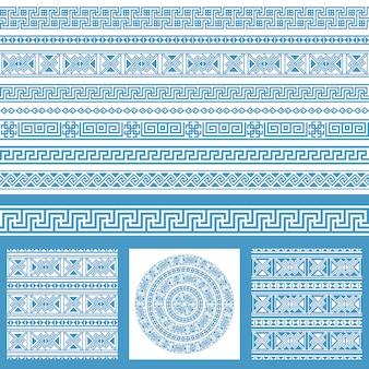 Vector conjunto de coleções de elementos de design étnica da grécia. os remendos e as beiras sem emenda decorativas azuis e brancas em um mega embalam.