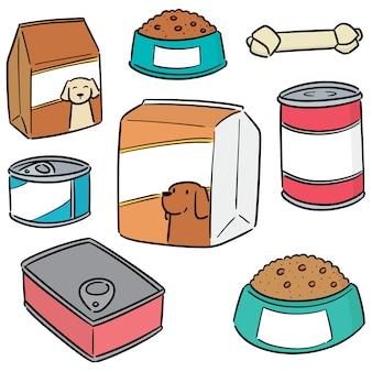 Vector conjunto de comida de cachorro