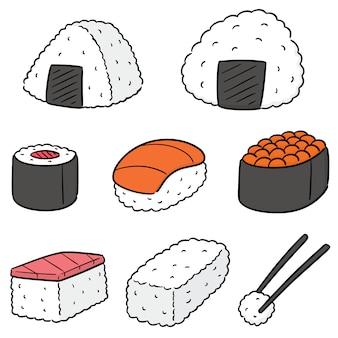 Vector conjunto de comida japonesa