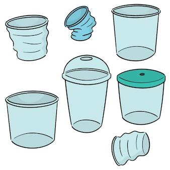 Vector conjunto de copo de plástico