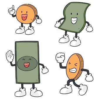 Vector conjunto de desenhos animados de dinheiro