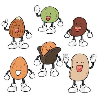 Vector conjunto de desenhos animados de feijão