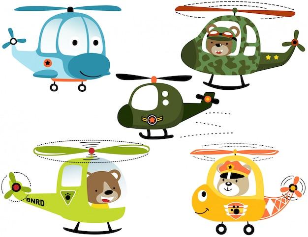 Vector conjunto de desenhos animados de helicópteros a sorrir com piloto animal