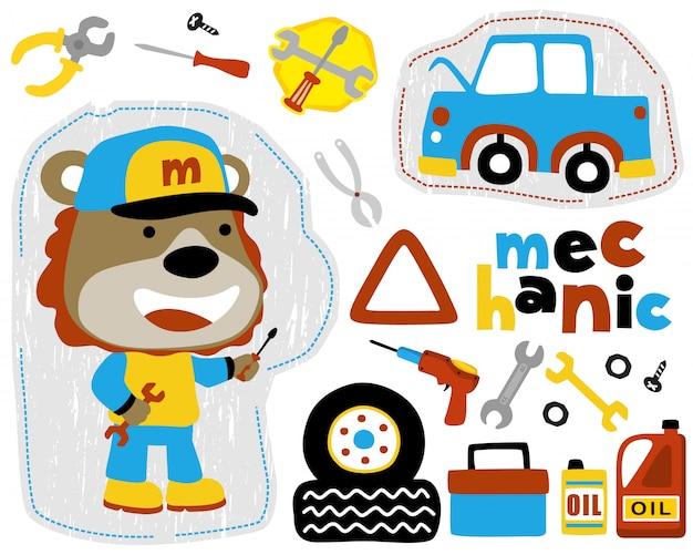 Vector conjunto de desenhos animados de mecânico de carro