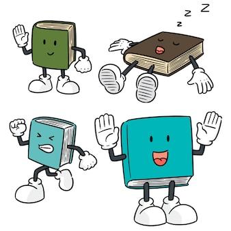 Vector conjunto de desenhos animados do livro