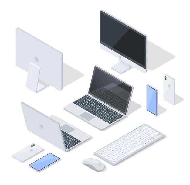 Vector conjunto de dispositivos mais comuns para trabalho e diversão