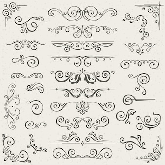 Vector conjunto de elementos de decoração de página de caligrafia de redemoinho