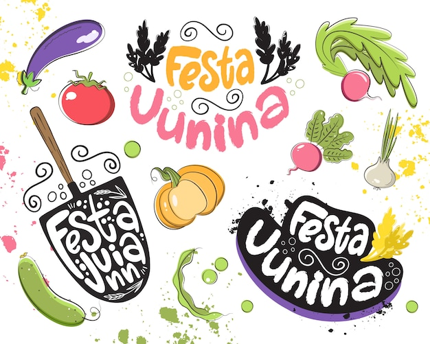 Vector conjunto de elementos para a celebração da festa junina. lettering, legumes, chapéu de fazendeiro, pá, trigo