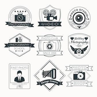 Vector conjunto de emblemas de fotografia