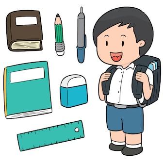 Vector conjunto de estudante e artigos de papelaria