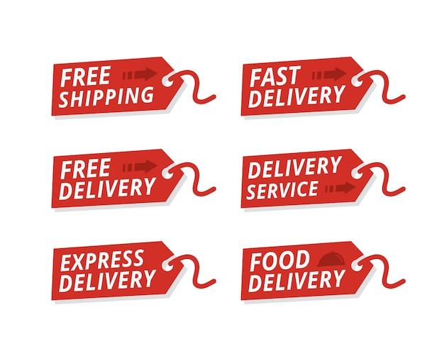 Vector conjunto de etiquetas de serviço de entrega