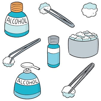 Vector conjunto de fórceps, álcool e algodão estéril