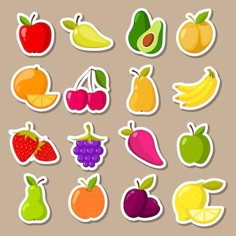 Vector conjunto de frutas e bagas adesivos