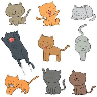 Vector conjunto de gatos