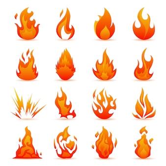 Vector conjunto de ícones de fogo e chamas. chamas coloridas no estilo liso. fogueira simples, ícones