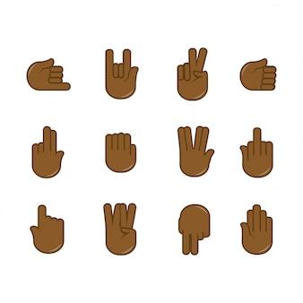 Vector conjunto de ícones de gestos de mão