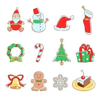 Vector conjunto de ícones de natal.