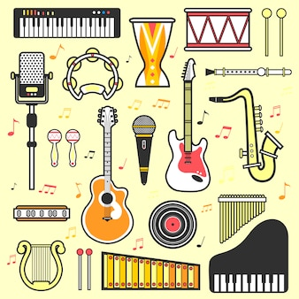 Vector conjunto de instrumentos musicais