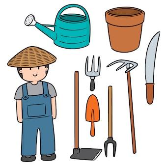 Vector conjunto de jardineiro e equipamento de jardinagem