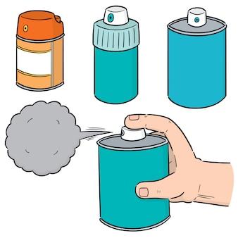 Vector conjunto de lata de spray