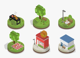 Vector conjunto de modelos de parque e cidade pixelizada