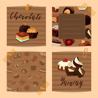 Vector conjunto de notas de giro com ilustração de doces de chocolate doce dos desenhos animados