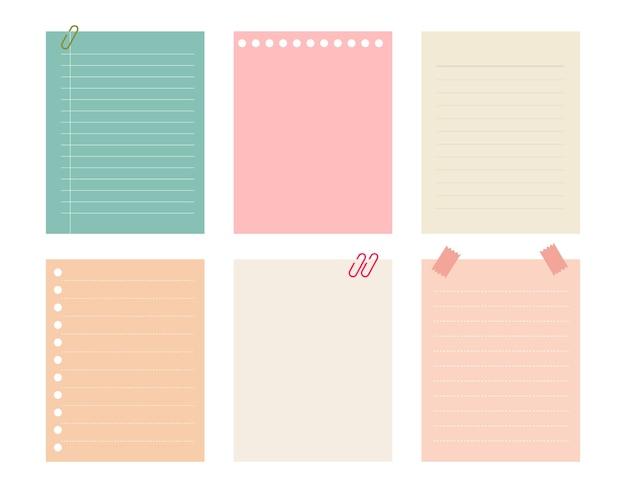 Vector conjunto de papéis de nota de cor diferente.
