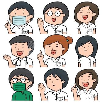Vector conjunto de pessoal médico
