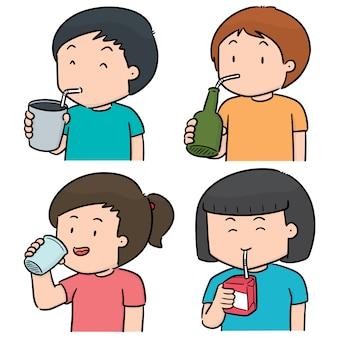 Vector conjunto de pessoas bebendo