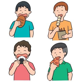 Vector conjunto de pessoas comendo