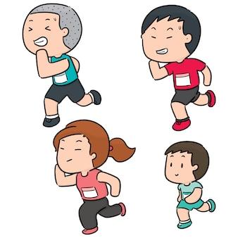 Vector conjunto de pessoas correndo