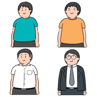 Vector conjunto de pessoas gordas
