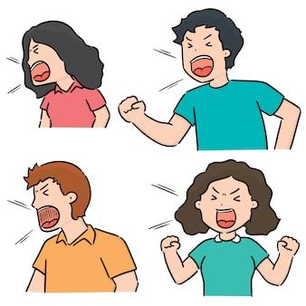 Vector conjunto de pessoas gritando