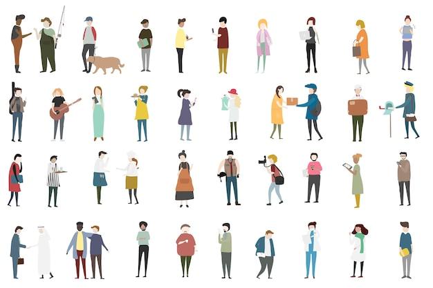 Vector conjunto de pessoas ilustradas
