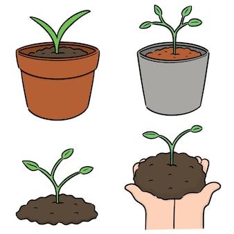 Vector conjunto de plantio de árvore