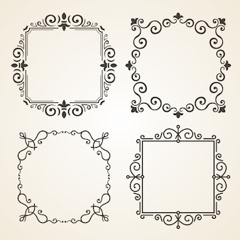 Vector conjunto de quadros de decoração ornamentado