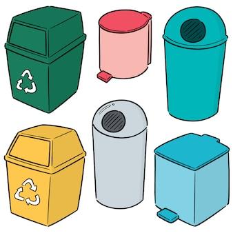 Vector conjunto de reciclagem de lixo