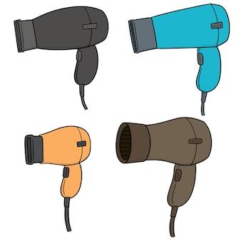 Vector conjunto de secadores de cabelo